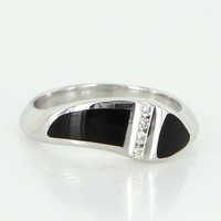 Estate Inlaid Onyx Diamond Stack Band Ring 14 Karat White Gold Vintage Fine Sz 6.5