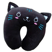 MochoHome Soft Cartoon U Neck Travel Pillow - Black Cat