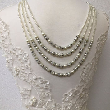 Bridal jewelry set, Gorgeous bridal Multi strand Ivory pearl backdrop earrings, High fashion Vintage inspired crystal pearl jewelry backdrop