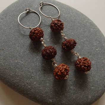 Brown Rudraksha Bead Earrings, Brown Earrings, Twist Design Earrings, Sterling Silver Hoop Earrings