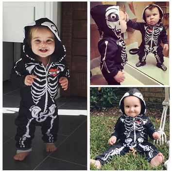 New Infant Baby Girl Boy Rompers Skull Hooded Bodysuit Jumpsuit Outfits Clothes 0-24M