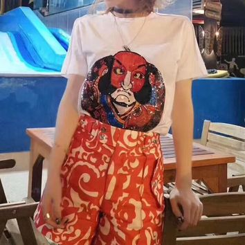 """""""Louis Vutitton"""" Women Personality Embroidery Sequin Pattern Short Sleeve Casual T-shirt Top Tee"""