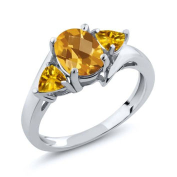 1.65 Ct Genuine Checkerboard Citrine Gemstone 925 Silver Ring