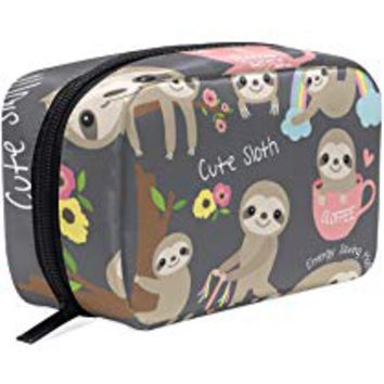 Makeup Bag Portable Travel Cosmetic Train Case Cute Sloth Toiletry Bag Organizer Accessories Case Tools Case for Beauty Women