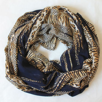 navy scarf,infinity scarf, scarf, scarves, long scarf, loop scarf, gift
