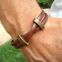 Free Shipping. Men's Leather Bracelet:Tan/Brown Genuine Leather, Brass Sliders with Magnetic Clasp.