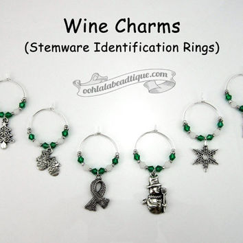Green Winter wine charms Christmas wine charms tags drink markers table ornaments holiday wine glass charms wine glass marker gift under 25