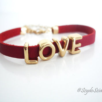 Red Leather Bracelet with Golden accents - Free Shipping