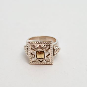 Vintage Kazkakh Style Sterling Silver and Gold Ring