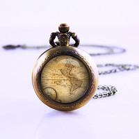 Vintage World Map Pocket Watch Necklace , Compass Necklace ,antique Map woman necklace , Cusotm WOman Necklace ,Map Compass Bronzen Necklace