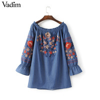 Women slash neck off shoulder denim long shirt dress flower embroidery sweet loose long sleeve summer casual tops blusas LT1486
