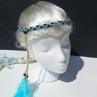Braided suede headband-black, beige, turquoise-with silver feather charm
