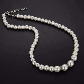 Ivory Pearl Bead and Crystal Accented Necklace