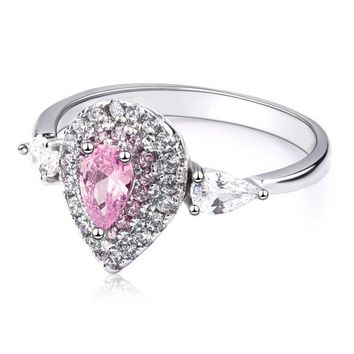 ac spbest Pink Pear Water  Drop Shape Cubic Zircon Stone Silver Ring for Women Engagement Fashion Jewelry Valentines Day Gift