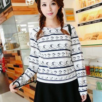 Long Sleeve Cartoon Striped Pattern Sweater