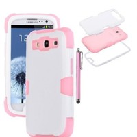 KINGCO PC+Silicone 3in1 Glow in the Dark Hybrid Protective Case Combo for Samsung Galaxy S3 III i9300 with Free Stylus Hard Soft Cases Covers (pink+white)
