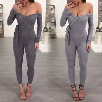 Fitness Sport Suit Sexy Women Yoga Set Long Sleeve Off Shoulder Jumpsuit Gym Running Leggings Sportswear Workout Clothes