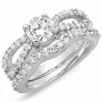 1.50 CT Platinum Plated Ladies Round Cubic Zirconia CZ Wedding Bridal Engagement Ring with Matching Band Set (Available in size 6, 7)