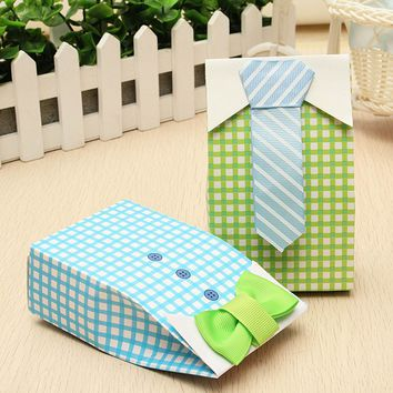 50Pcs Lovely Gift Bag Bow Tie Design Birthday Party Favor Paper Sugar Candy Box Treat Bag Wedding Party Supplies Gift For Guests