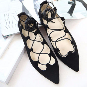 Black Sexy Strappy Light Lace Up Flat Pointed Toe Ballet Shoes