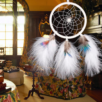 Handmade White Feathers Dream Catcher Large Ring Dreamcatcher Net Home Room Car Hanging Decor Ornament
