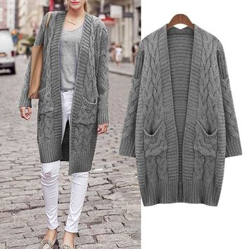 Autumn Winter Pocket Midi Pattern Sweater Coat Fashion  Women's Clothing Loose All Matched Knitwear Cardigan