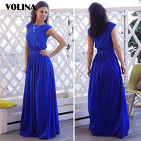 VOLINA big size dresses Women's clothing long dress Elegant Sundress 2017 Summer dress for Women sashes O-neck Sundress solid