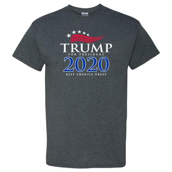 Trump 2020 For President Keep America Great Again on a Dark Heather T Shirt