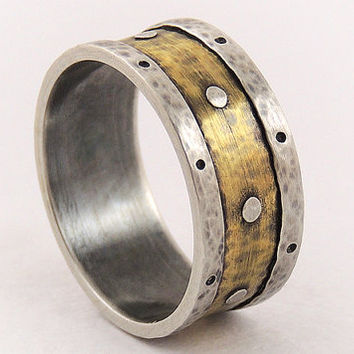 Mens promise ring - wedding band ring,unique men ring,rustic ring,silver and brass,engagement ring
