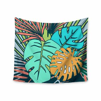 """bruxamagica """"Topical Leaves Blue"""" Blue Green Floral Nature Illustration Digital Wall Tapestry"""