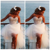 Kp38 Prom Dresses 2017 Said Mhamad Beach Wedding Sweetheart Pearl Beaded Back Front Short And Long Back High Low Arabic