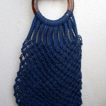 Navy Blue Woven Macrame Shopping Tote With Round Lucite Handles, 70s 80s Hand Crochet Transparent Shopper, Reusable Grocery Market Bag