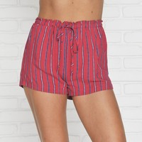 Cannes Striped Shorts In Red