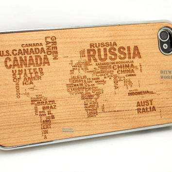 Natural Wood iPhone 4 4s Case - Engraved Word World Map ANtique Case, Laser Engraving 3D Geometric, 4s, Wooden hard Cell cover