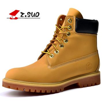 Z. Suo Brand New Classic Style Men's Tooling Boots with fur Autumn High Top Split Leather Male Martin Boots Plus Size 39-45