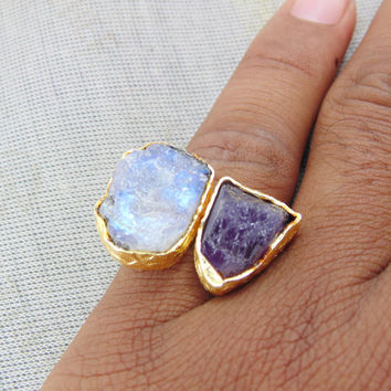 Rainbow Moonstone Ring - Semi Precious Ring - Gold Plated Ring - Amethyst Ring - Simple Everyday Ring - Birthstone Ring - Adjustable Ring