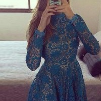 Backless Long Sleeve Floral Lace Dress