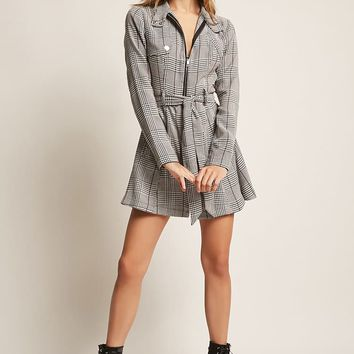 Plaid Zip-Front Jacket