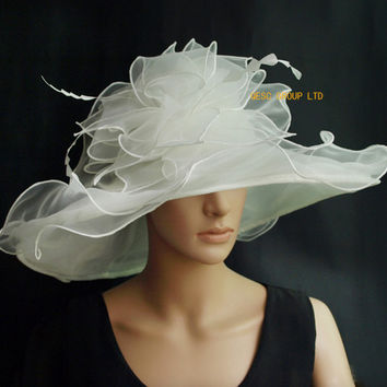 X large Dress Organza Hats Church Hats for kentucky derby,wedding,races,5 colours,black,ivory,royal blue,lilac.FREE SHIPPING.