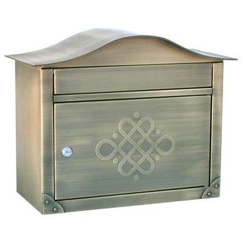 Architectural Mailboxes 2402ABE Peninsula Antique Brass Mailbox with Embossed Door