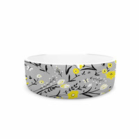 "Laura Nicholson ""Blackbirds On Gray"" Gray Yellow Pet Bowl"