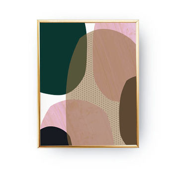 Pink Green Print, Geometric Textures, Pastel Art, Minimalist Poster, Textured Watercolor, Abstract Wall Art, Modern Shapes, Simple Decor