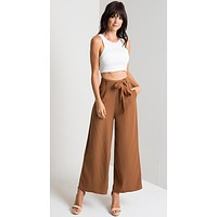 Women Casual Simple Solid Color Wide Leg Pants Trousers Belt Leisure Pants