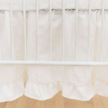 Crib Skirt | Washed Linen in Ivory