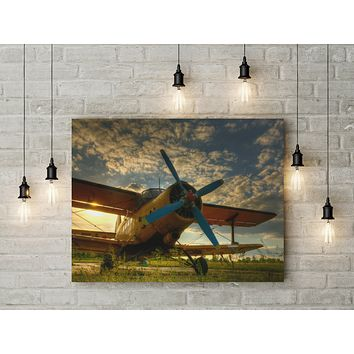Old Airplane Sunset Framed Canvas Wall Art Aviation Gift