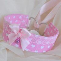 Sweetheart - fairy kei kawaii cute neko lolita kitten pet play collar with hearts and bell - pink and white