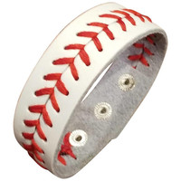 White Leather Baseball Bracelet - Large