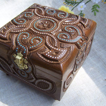 Jewelry box Wooden box Ring box Carved wood box Wedding gifts Jewellery box Wood carvings Wood carving Jewelry boxes Wooden boxes B3