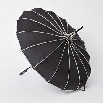 Vintage Style Black & Polka Dot Tan Princess Pagoda Umbrella