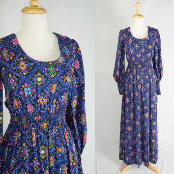 Vintage Hippie Dream Juliet Maxi Dress Day Glow Beauty Romantic!